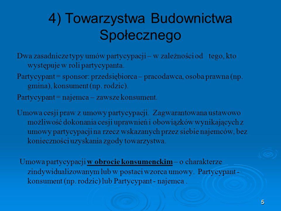 5 4) Towarzystwa Budownictwa Społecznego Dwa zasadnicze typy umów partycypacji – w zależności od tego, kto występuje w roli partycypanta. Partycypant