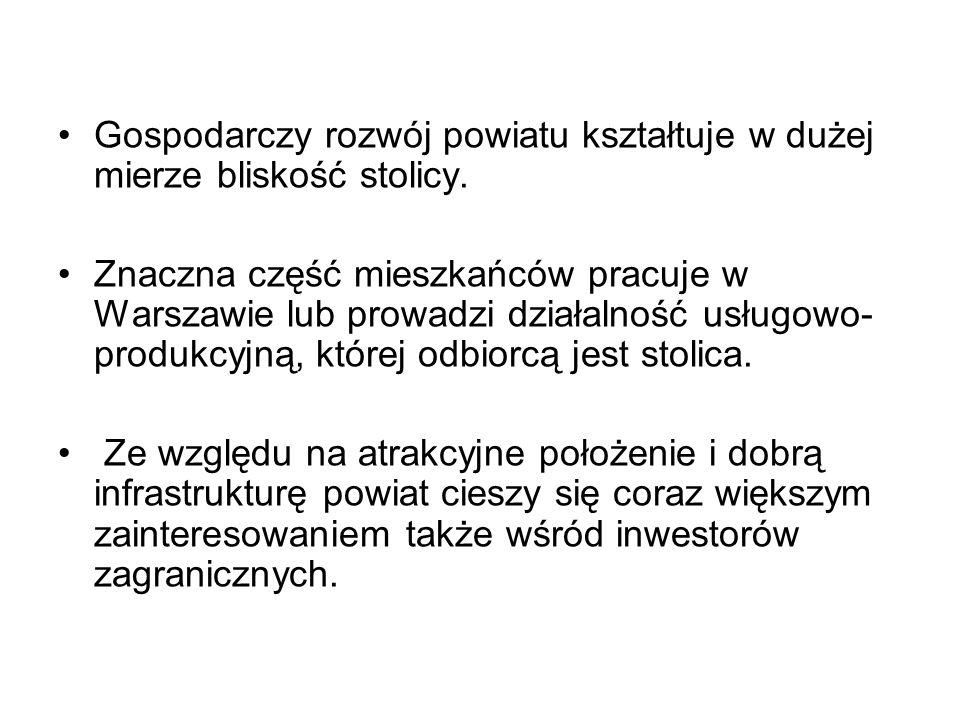 Gospodarczy rozwój powiatu kształtuje w dużej mierze bliskość stolicy. Znaczna część mieszkańców pracuje w Warszawie lub prowadzi działalność usługowo