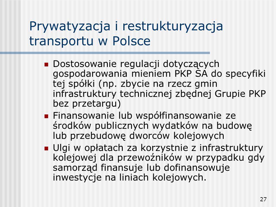 27 Prywatyzacja i restrukturyzacja transportu w Polsce Dostosowanie regulacji dotyczących gospodarowania mieniem PKP SA do specyfiki tej spółki (np.