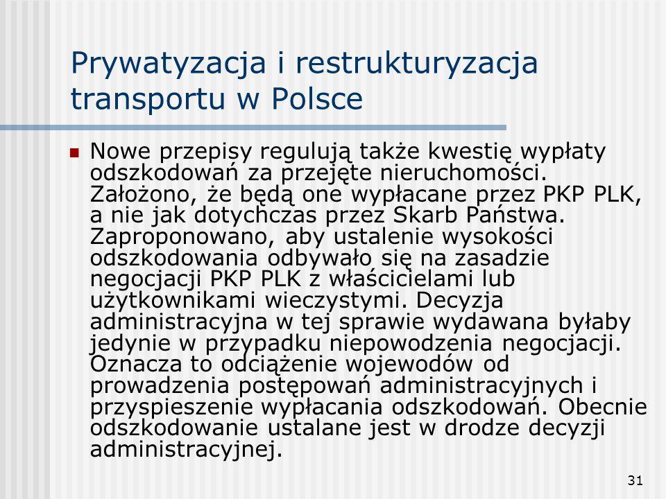 31 Prywatyzacja i restrukturyzacja transportu w Polsce Nowe przepisy regulują także kwestię wypłaty odszkodowań za przejęte nieruchomości.
