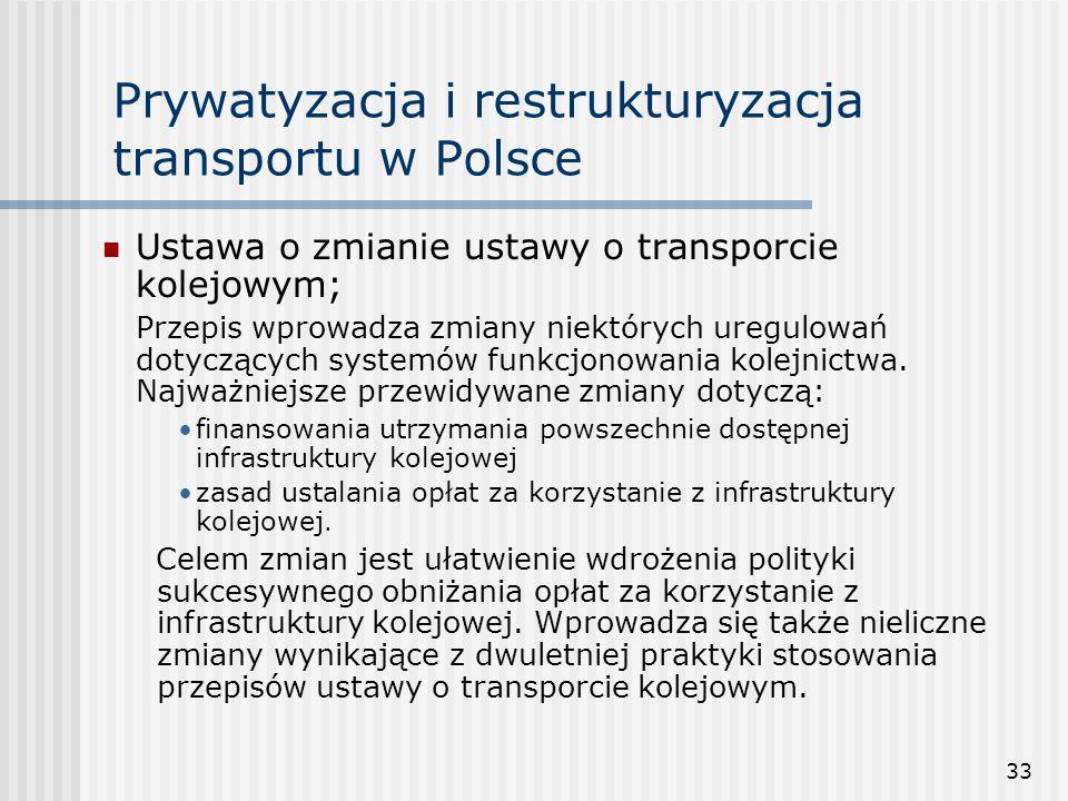 33 Prywatyzacja i restrukturyzacja transportu w Polsce Ustawa o zmianie ustawy o transporcie kolejowym; Przepis wprowadza zmiany niektórych uregulowań dotyczących systemów funkcjonowania kolejnictwa.