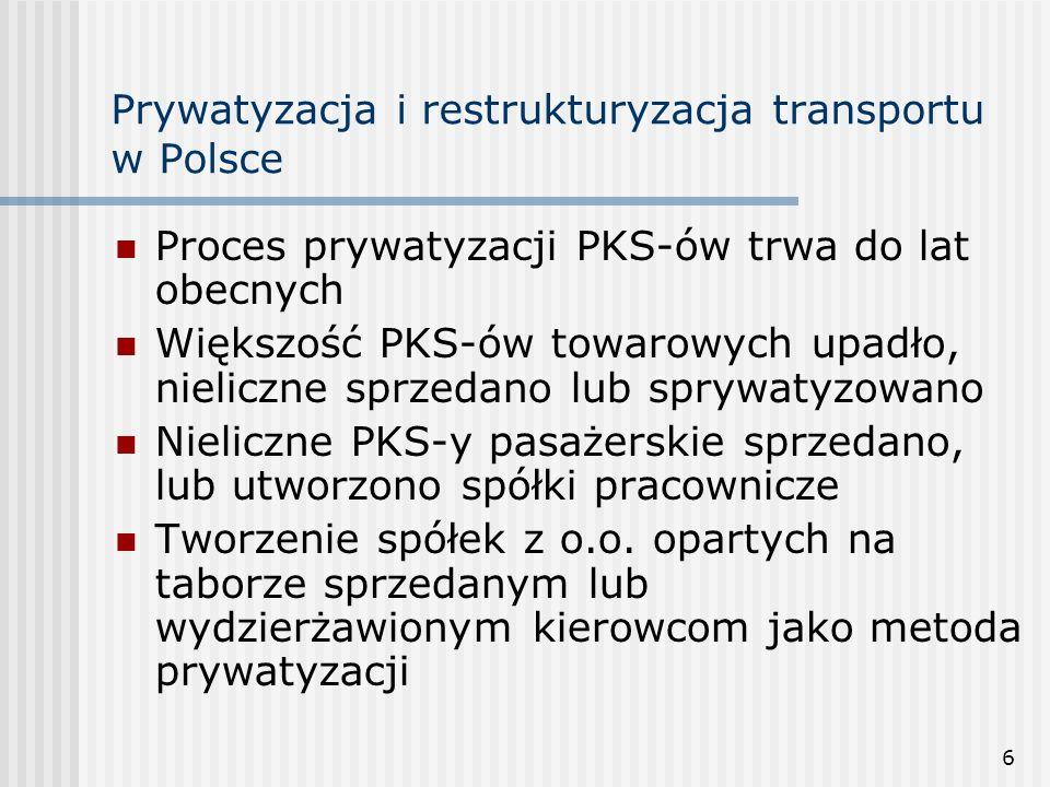 17 Prywatyzacja i restrukturyzacja transportu w Polsce Ustawa o transporcie kolejowym z 1997 r.