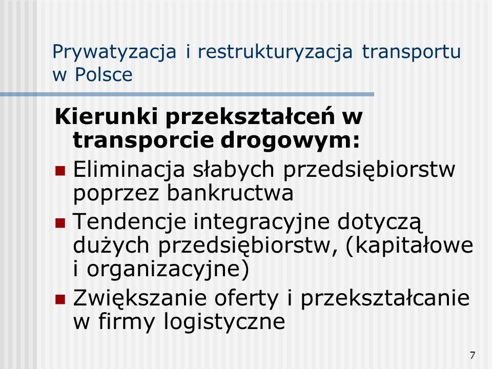 7 Prywatyzacja i restrukturyzacja transportu w Polsce Kierunki przekształceń w transporcie drogowym: Eliminacja słabych przedsiębiorstw poprzez bankructwa Tendencje integracyjne dotyczą dużych przedsiębiorstw, (kapitałowe i organizacyjne) Zwiększanie oferty i przekształcanie w firmy logistyczne