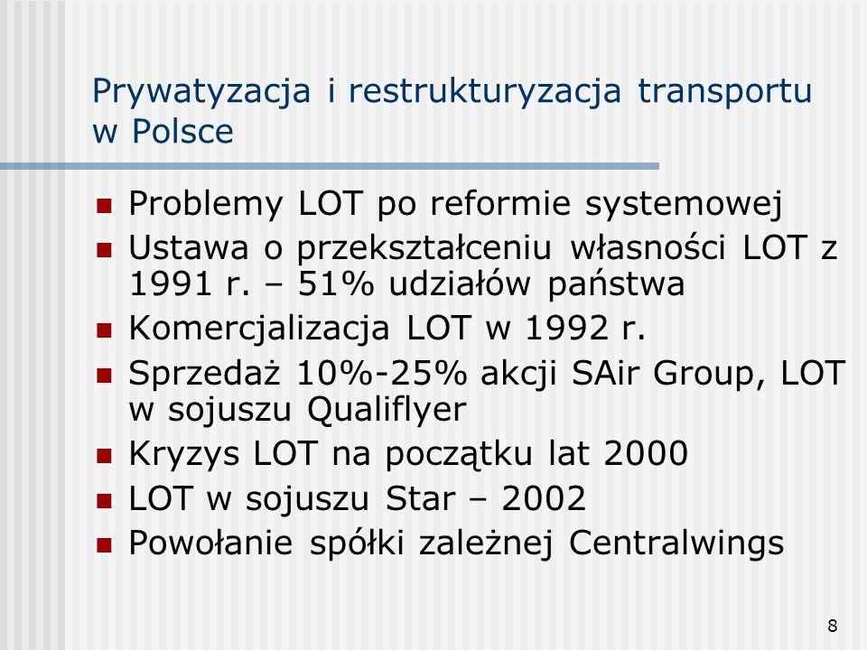 19 Prywatyzacja i restrukturyzacja transportu w Polsce Ustawa o komercjalizacji, restrukturyzacji i prywatyzacji PKP z 8 września 2000 r.: Restrukturyzacja finansowa: zamiana zobowiązań na akcje i udziały, emisja obligacji, kredyt pomostowy, kredyty komercyjne Restrukturyzacja majątkowa: sprzedaż majątku, mieszkań, likwidacja linii