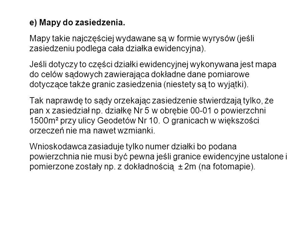 e) Mapy do zasiedzenia.