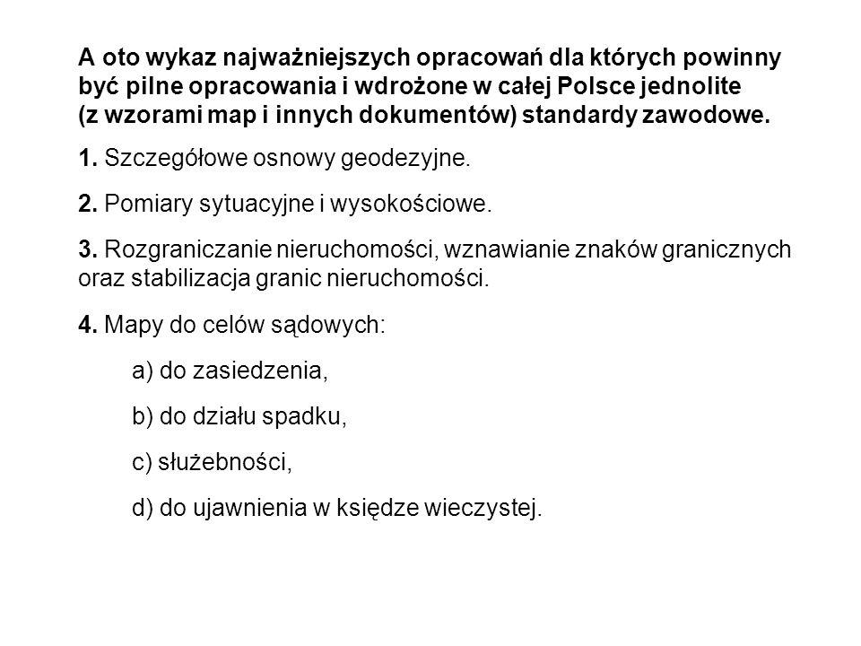 A oto wykaz najważniejszych opracowań dla których powinny być pilne opracowania i wdrożone w całej Polsce jednolite (z wzorami map i innych dokumentów) standardy zawodowe.