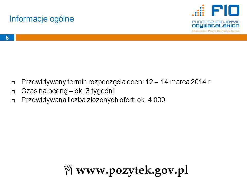 Informacje ogólne 6  Przewidywany termin rozpoczęcia ocen: 12 – 14 marca 2014 r.