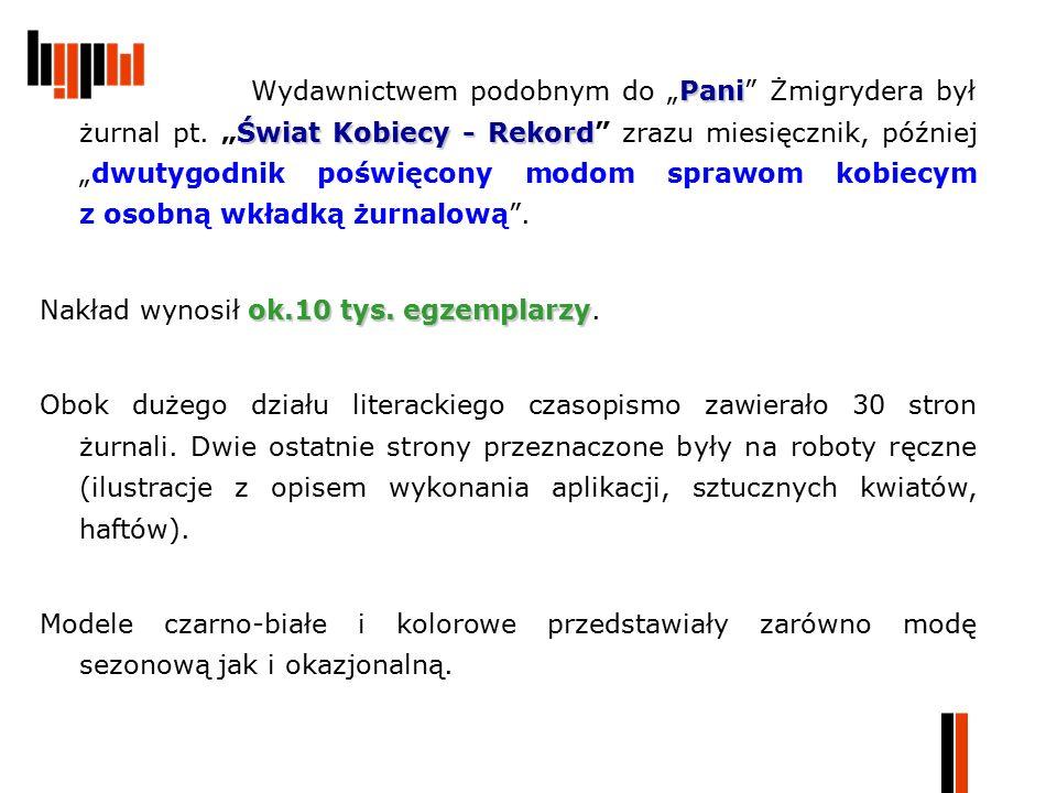 """Pani Świat Kobiecy - Rekord Wydawnictwem podobnym do """"Pani"""" Żmigrydera był żurnal pt. """"Świat Kobiecy - Rekord"""" zrazu miesięcznik, później """"dwutygodnik"""