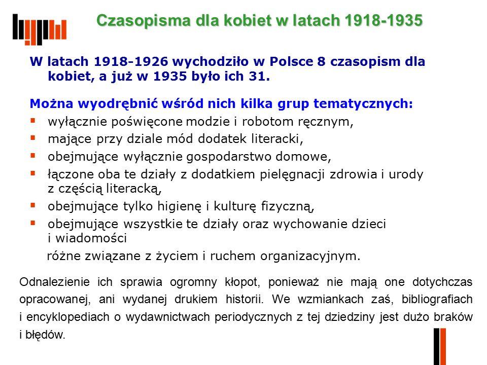 W latach 1918-1926 wychodziło w Polsce 8 czasopism dla kobiet, a już w 1935 było ich 31. Można wyodrębnić wśród nich kilka grup tematycznych:  wyłącz