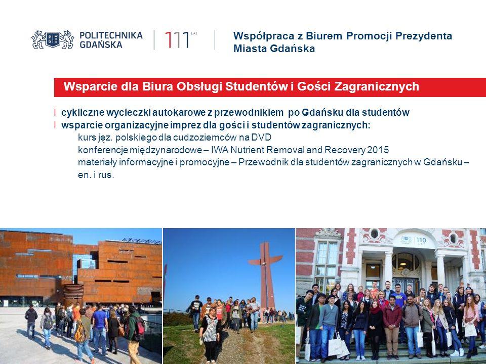 Współpraca z Biurem Promocji Prezydenta Miasta Gdańska Wsparcie dla Biura Obsługi Studentów i Gości Zagranicznych I cykliczne wycieczki autokarowe z p