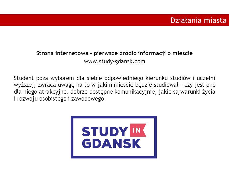 Strona internetowa – pierwsze źródło informacji o mieście www.study-gdansk.com Student poza wyborem dla siebie odpowiedniego kierunku studiów i uczeln