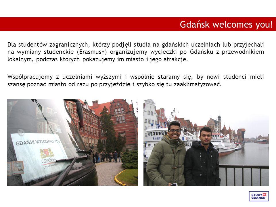 Dla studentów zagranicznych, którzy podjęli studia na gdańskich uczelniach lub przyjechali na wymiany studenckie (Erasmus+) organizujemy wycieczki po Gdańsku z przewodnikiem lokalnym, podczas których pokazujemy im miasto i jego atrakcje.
