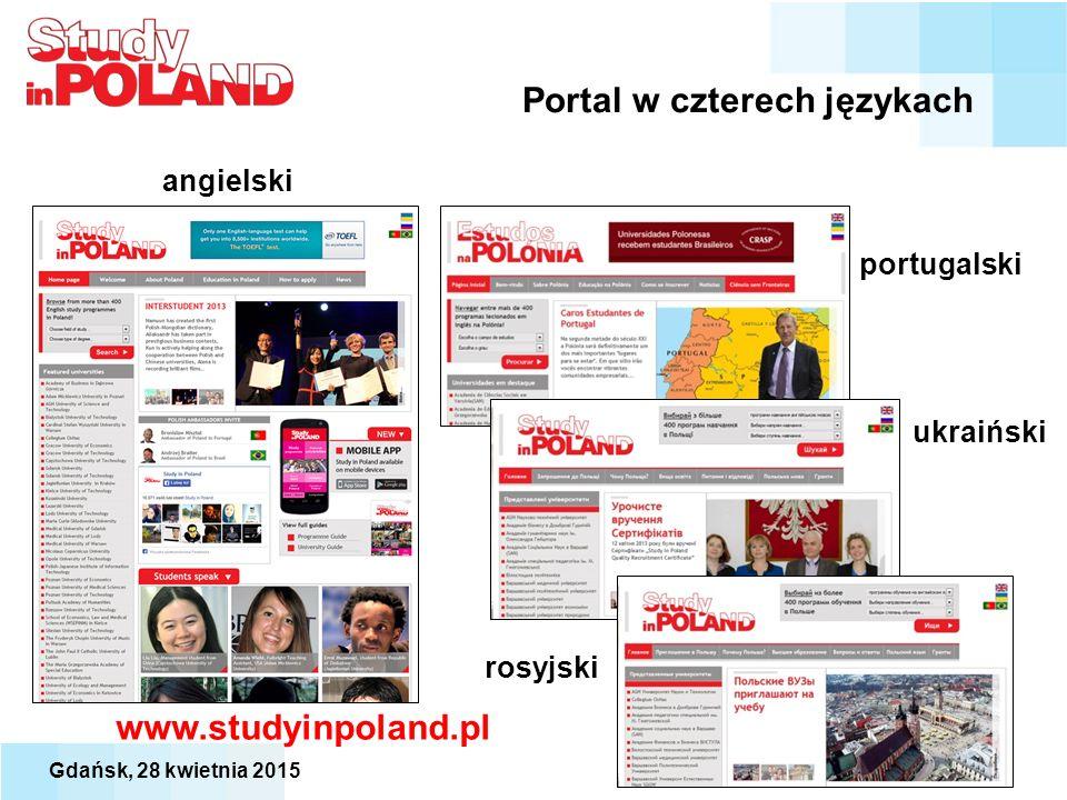 Portal w czterech językach www.studyinpoland.pl angielski portugalski rosyjski ukraiński Gdańsk, 28 kwietnia 2015