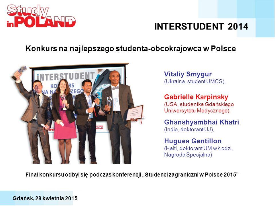 """INTERSTUDENT 2014 Konkurs na najlepszego studenta-obcokrajowca w Polsce Vitaliy Smygur (Ukraina, student UMCS), Gabrielle Karpinsky (USA, studentka Gdańskiego Uniwersytetu Medycznego), Ghanshyambhai Khatri (Indie, doktorant UJ), Hugues Gentillon (Haiti, doktorant UM w Łodzi, Nagroda Specjalna) Finał konkursu odbył się podczas konferencji """"Studenci zagraniczni w Polsce 2015 Gdańsk, 28 kwietnia 2015"""