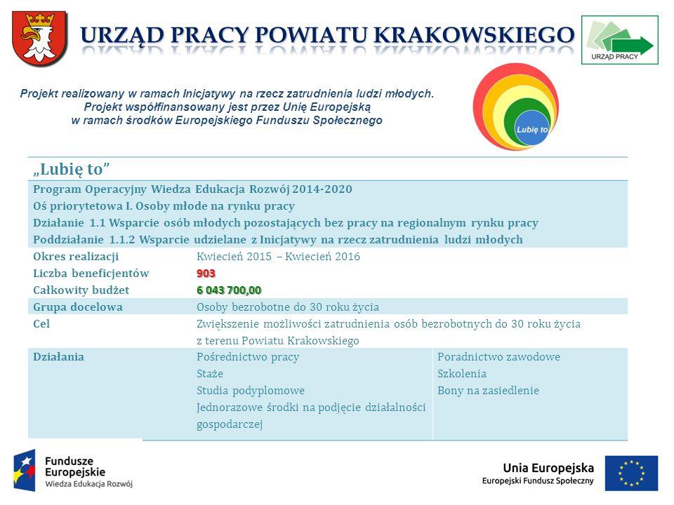 """""""Lubię to Program Operacyjny Wiedza Edukacja Rozwój 2014-2020 Oś priorytetowa I."""