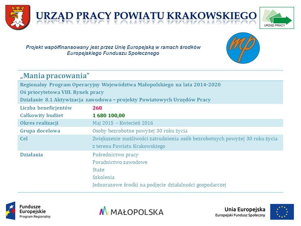 """""""Mania pracowania Regionalny Program Operacyjny Województwa Małopolskiego na lata 2014-2020 Oś priorytetowa VIII."""