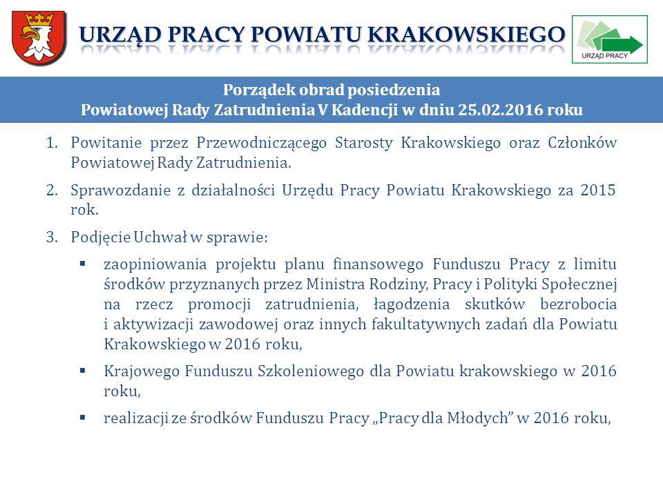 """""""WARTOŚĆ WSKAŹNIKÓW za rok 2014 Otrzymanie 2 % Otrzymanie środków na finansowanie kosztów nagród oraz składek na ubezpieczenia społeczne pracowników Urzędu Pracy Powiatu Krakowskiego, w szczególności pełniących funkcje doradców klienta oraz zajmujących stanowiska kierownicze w wysokości 2 % kwoty środków Funduszu Pracy ustalonej na rok 2013 na realizację programów na rzecz promocji zatrudnienia, łagodzenia skutków bezrobocia i aktywizacji zawodowej."""