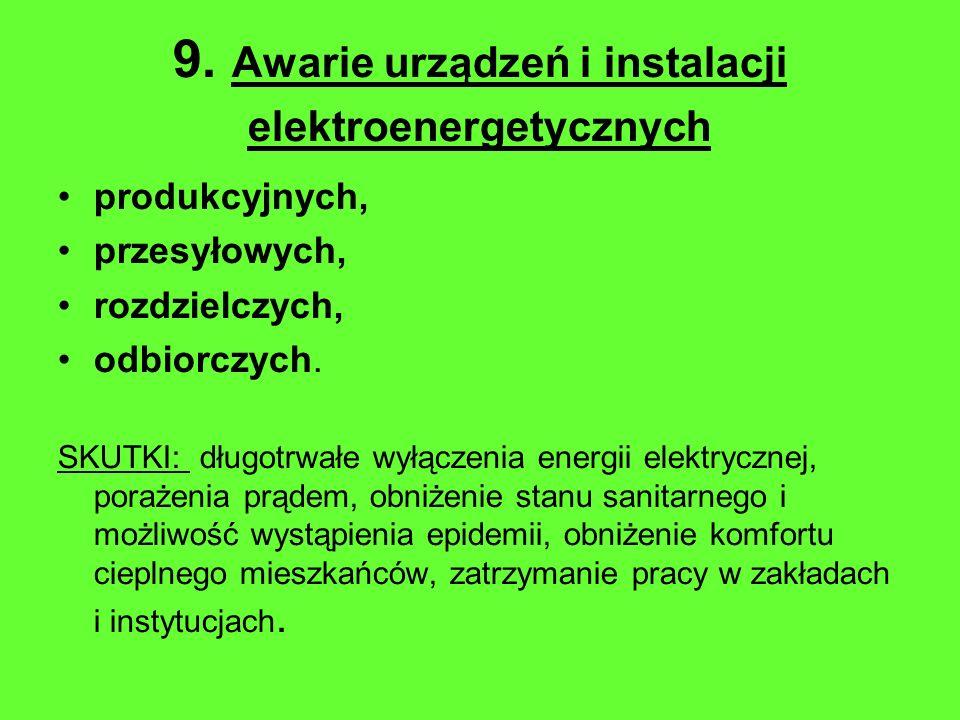 9. Awarie urządzeń i instalacji elektroenergetycznych produkcyjnych, przesyłowych, rozdzielczych, odbiorczych. SKUTKI: długotrwałe wyłączenia energii