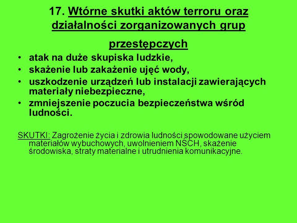 17. Wtórne skutki aktów terroru oraz działalności zorganizowanych grup przestępczych atak na duże skupiska ludzkie, skażenie lub zakażenie ujęć wody,