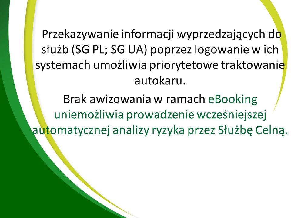 Przekazywanie informacji wyprzedzających do służb (SG PL; SG UA) poprzez logowanie w ich systemach umożliwia priorytetowe traktowanie autokaru.