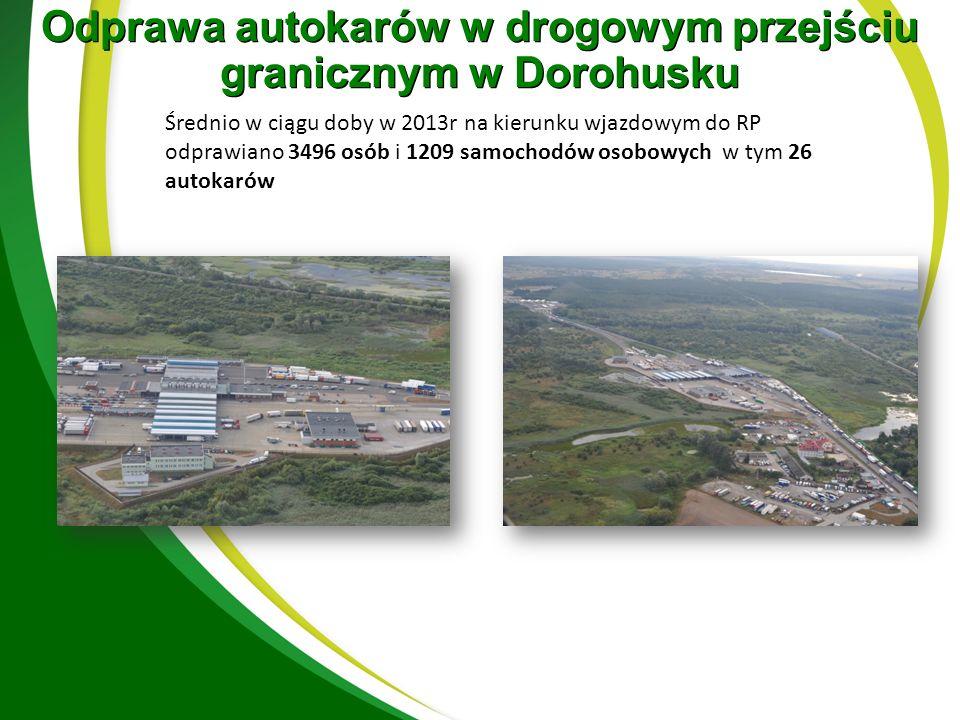 Odprawa autokarów w drogowym przejściu granicznym w Dorohusku Średnio w ciągu doby w 2013r na kierunku wjazdowym do RP odprawiano 3496 osób i 1209 samochodów osobowych w tym 26 autokarów
