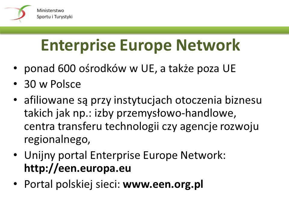 Enterprise Europe Network ponad 600 ośrodków w UE, a także poza UE 30 w Polsce afiliowane są przy instytucjach otoczenia biznesu takich jak np.: izby przemysłowo-handlowe, centra transferu technologii czy agencje rozwoju regionalnego, Unijny portal Enterprise Europe Network: http://een.europa.eu Portal polskiej sieci: www.een.org.pl
