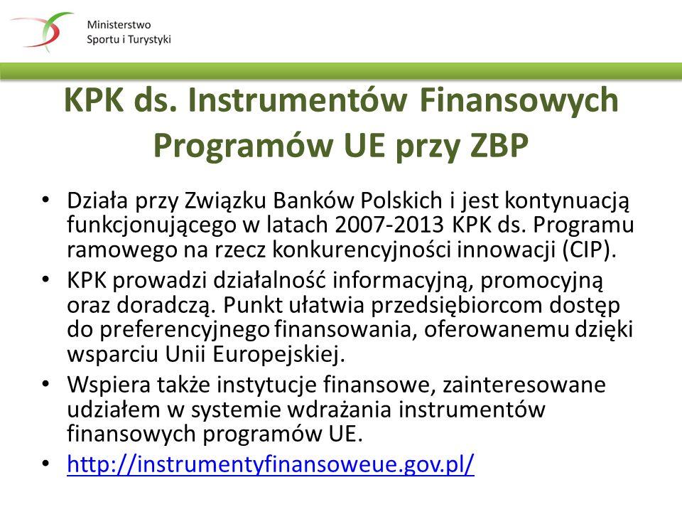 KPK ds. Instrumentów Finansowych Programów UE przy ZBP Działa przy Związku Banków Polskich i jest kontynuacją funkcjonującego w latach 2007-2013 KPK d