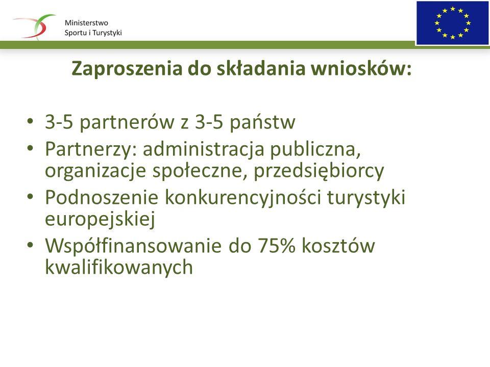 Zaproszenia do składania wniosków: 3-5 partnerów z 3-5 państw Partnerzy: administracja publiczna, organizacje społeczne, przedsiębiorcy Podnoszenie konkurencyjności turystyki europejskiej Współfinansowanie do 75% kosztów kwalifikowanych