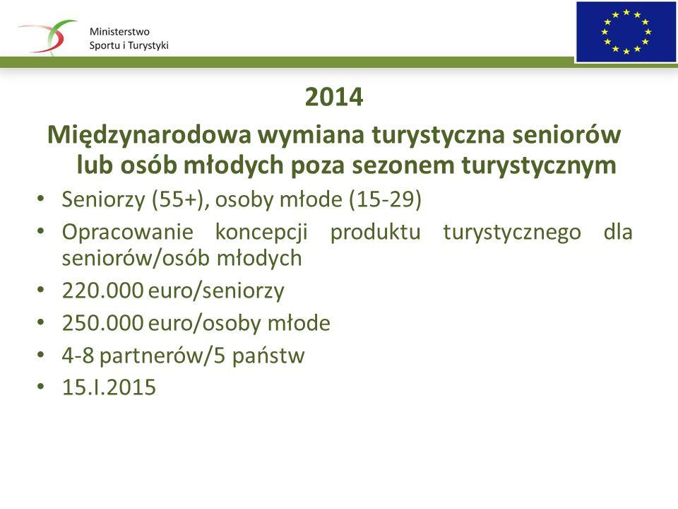 2014 Międzynarodowa wymiana turystyczna seniorów lub osób młodych poza sezonem turystycznym Seniorzy (55+), osoby młode (15-29) Opracowanie koncepcji produktu turystycznego dla seniorów/osób młodych 220.000 euro/seniorzy 250.000 euro/osoby młode 4-8 partnerów/5 państw 15.I.2015