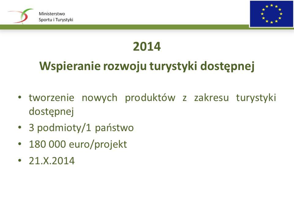 2014 Wspieranie rozwoju turystyki dostępnej tworzenie nowych produktów z zakresu turystyki dostępnej 3 podmioty/1 państwo 180 000 euro/projekt 21.X.2014