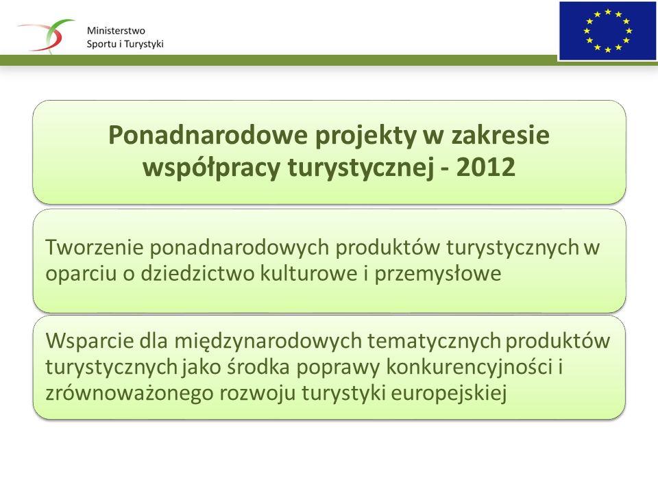 Ponadnarodowe projekty w zakresie współpracy turystycznej - 2012 Tworzenie ponadnarodowych produktów turystycznych w oparciu o dziedzictwo kulturowe i przemysłowe Wsparcie dla międzynarodowych tematycznych produktów turystycznych jako środka poprawy konkurencyjności i zrównoważonego rozwoju turystyki europejskiej