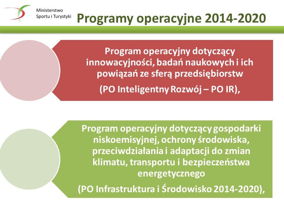 Programy operacyjne 2014-2020 Program operacyjny dotyczący innowacyjności, badań naukowych i ich powiązań ze sferą przedsiębiorstw (PO Inteligentny Rozwój – PO IR), Program operacyjny dotyczący gospodarki niskoemisyjnej, ochrony środowiska, przeciwdziałania i adaptacji do zmian klimatu, transportu i bezpieczeństwa energetycznego (PO Infrastruktura i Środowisko 2014-2020),