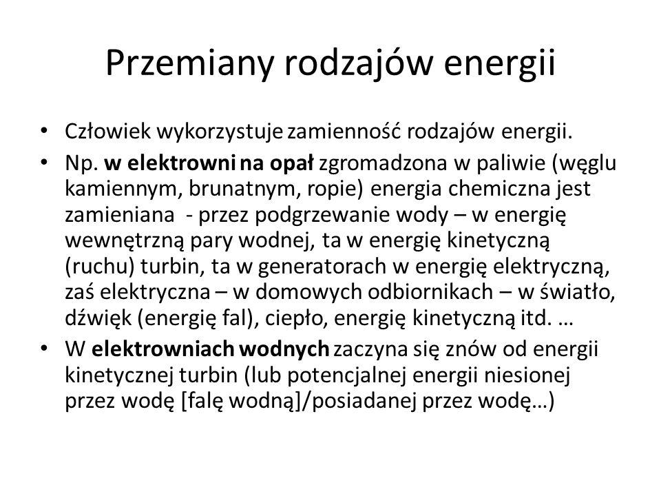 Przemiany rodzajów energii Człowiek wykorzystuje zamienność rodzajów energii. Np. w elektrowni na opał zgromadzona w paliwie (węglu kamiennym, brunatn