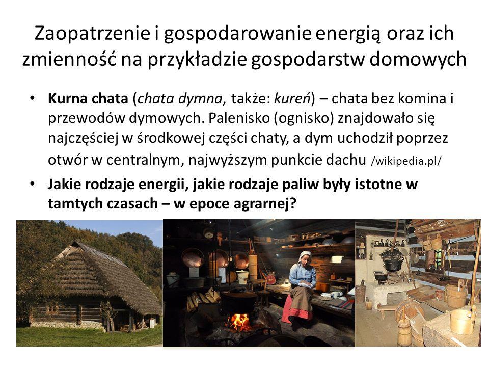 Zaopatrzenie i gospodarowanie energią oraz ich zmienność na przykładzie gospodarstw domowych Kurna chata (chata dymna, także: kureń) – chata bez komin