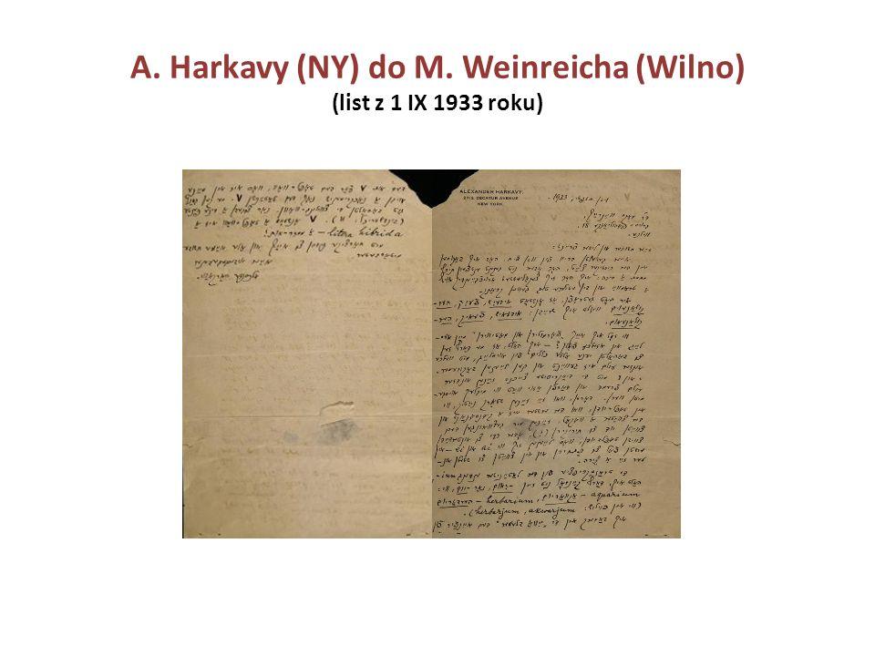 A. Harkavy (NY) do M. Weinreicha (Wilno) (list z 1 IX 1933 roku)
