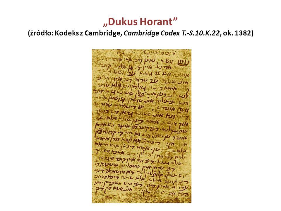 """Dukus Horant"" (źródło: Kodeks z Cambridge, Cambridge Codex T.-S.10.K.22, ok. 1382)"