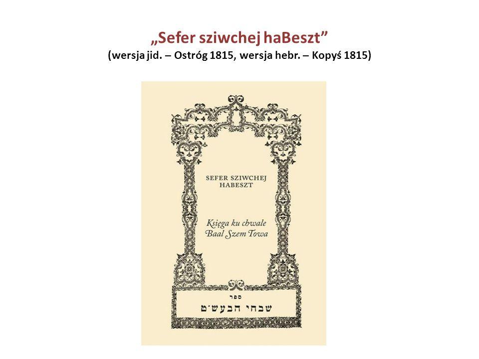 """""""Sefer sziwchej haBeszt"""" (wersja jid. – Ostróg 1815, wersja hebr. – Kopyś 1815)"""