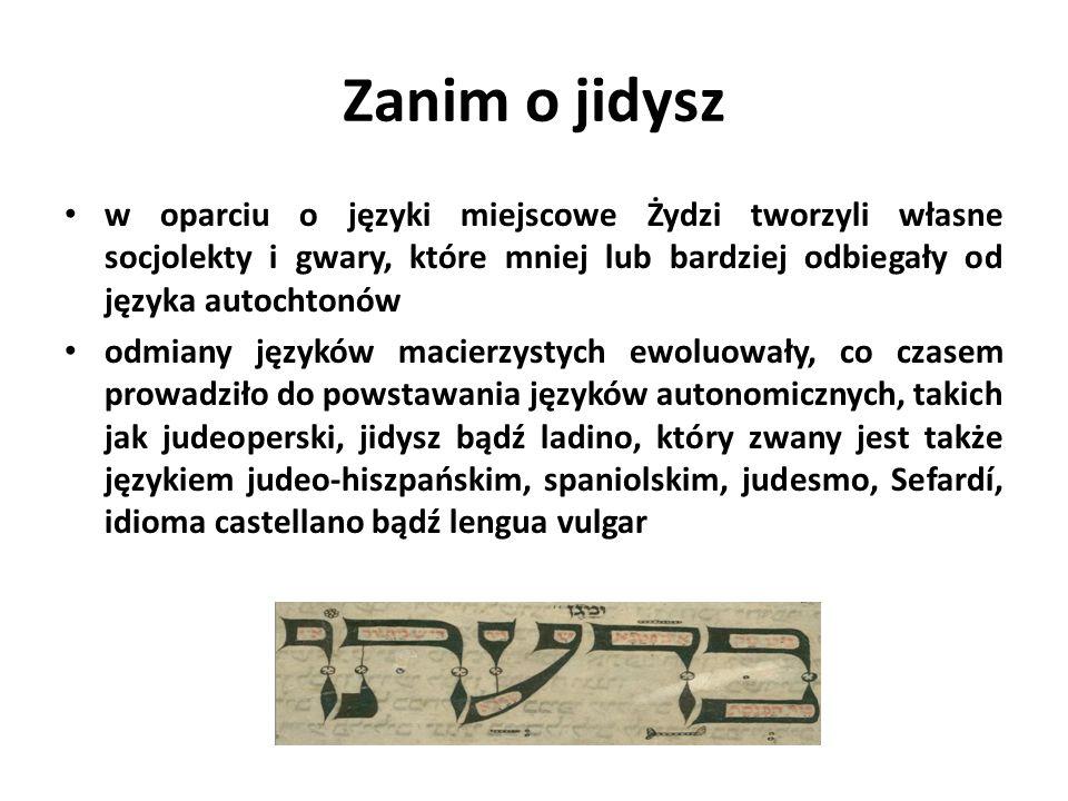 Zanim o jidysz w oparciu o języki miejscowe Żydzi tworzyli własne socjolekty i gwary, które mniej lub bardziej odbiegały od języka autochtonów odmiany języków macierzystych ewoluowały, co czasem prowadziło do powstawania języków autonomicznych, takich jak judeoperski, jidysz bądź ladino, który zwany jest także językiem judeo-hiszpańskim, spaniolskim, judesmo, Sefardí, idioma castellano bądź lengua vulgar
