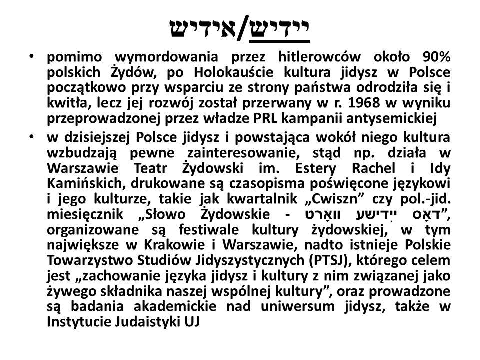 אידיש / יידיש pomimo wymordowania przez hitlerowców około 90% polskich Żydów, po Holokauście kultura jidysz w Polsce początkowo przy wsparciu ze strony państwa odrodziła się i kwitła, lecz jej rozwój został przerwany w r.