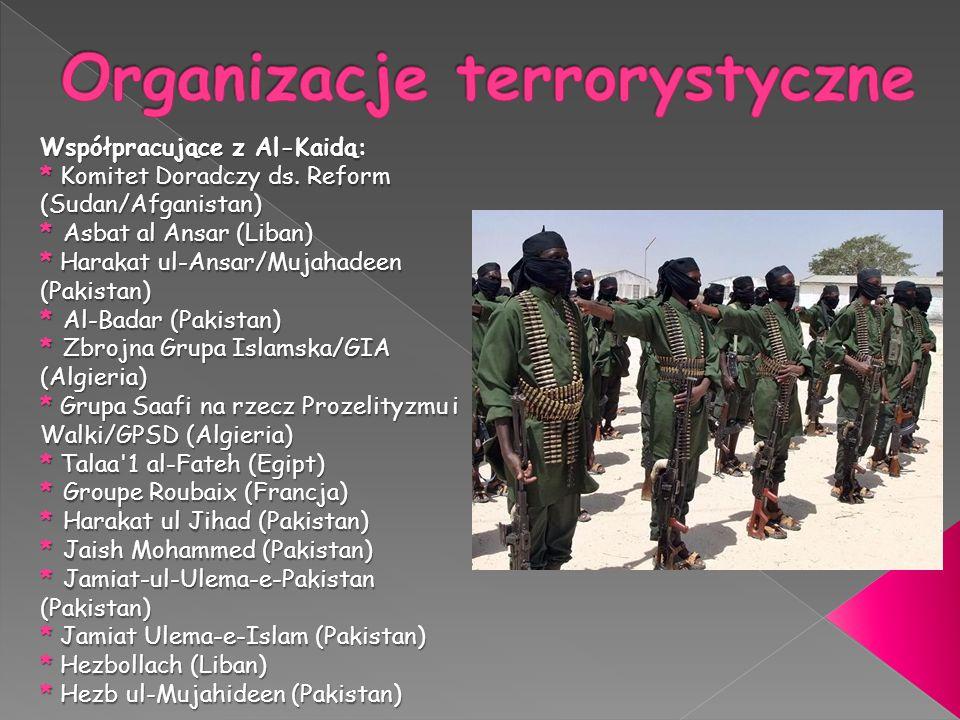 Współpracujące z Al-Kaidą: * Komitet Doradczy ds.