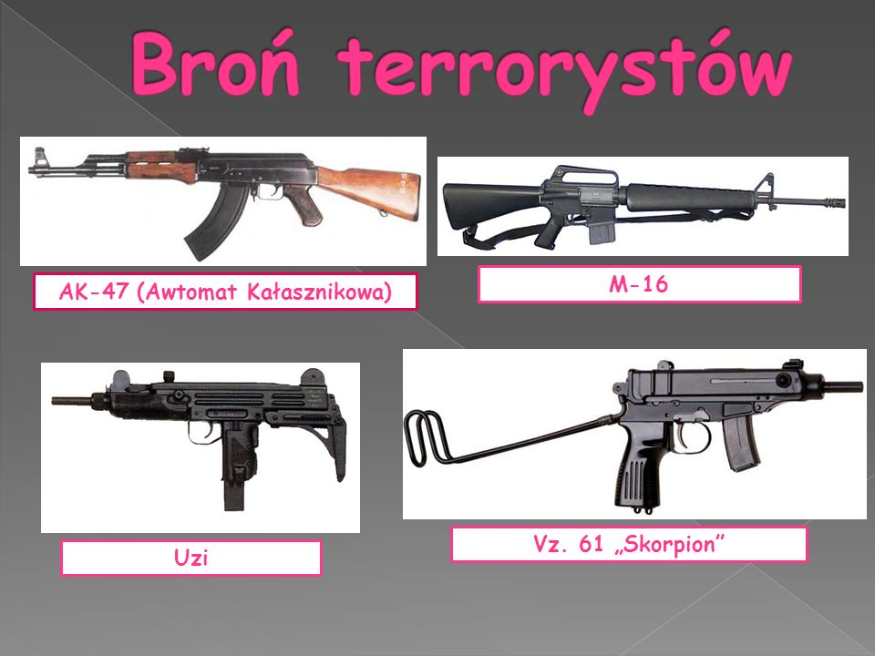 """AK-47 (Awtomat Kałasznikowa) M-16 Uzi Vz. 61 """"Skorpion"""