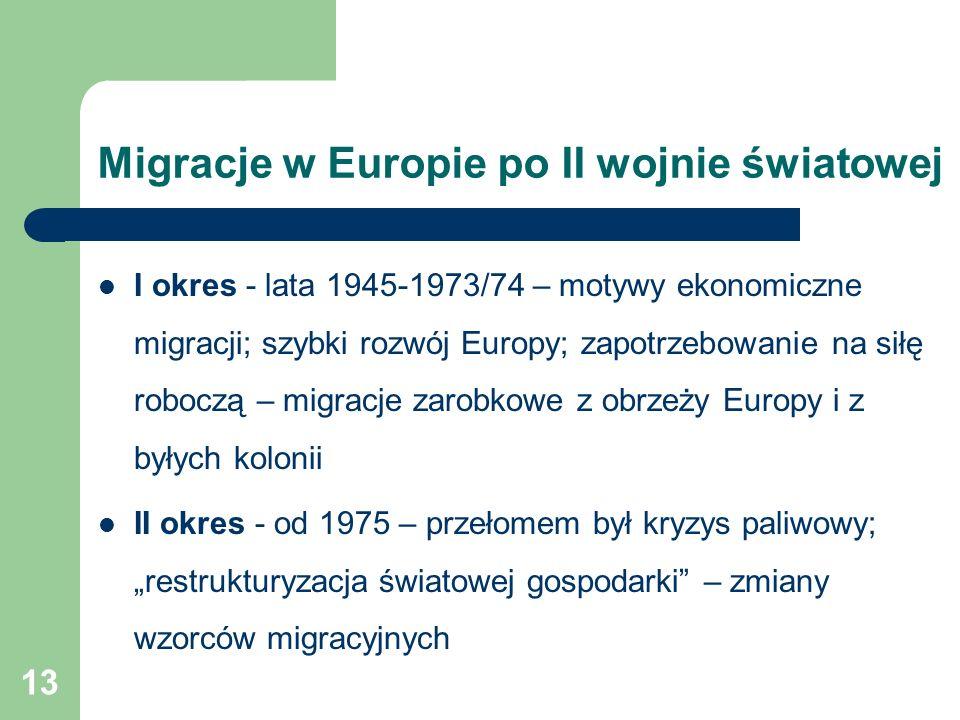 """13 Migracje w Europie po II wojnie światowej I okres - lata 1945-1973/74 – motywy ekonomiczne migracji; szybki rozwój Europy; zapotrzebowanie na siłę roboczą – migracje zarobkowe z obrzeży Europy i z byłych kolonii II okres - od 1975 – przełomem był kryzys paliwowy; """"restrukturyzacja światowej gospodarki – zmiany wzorców migracyjnych"""
