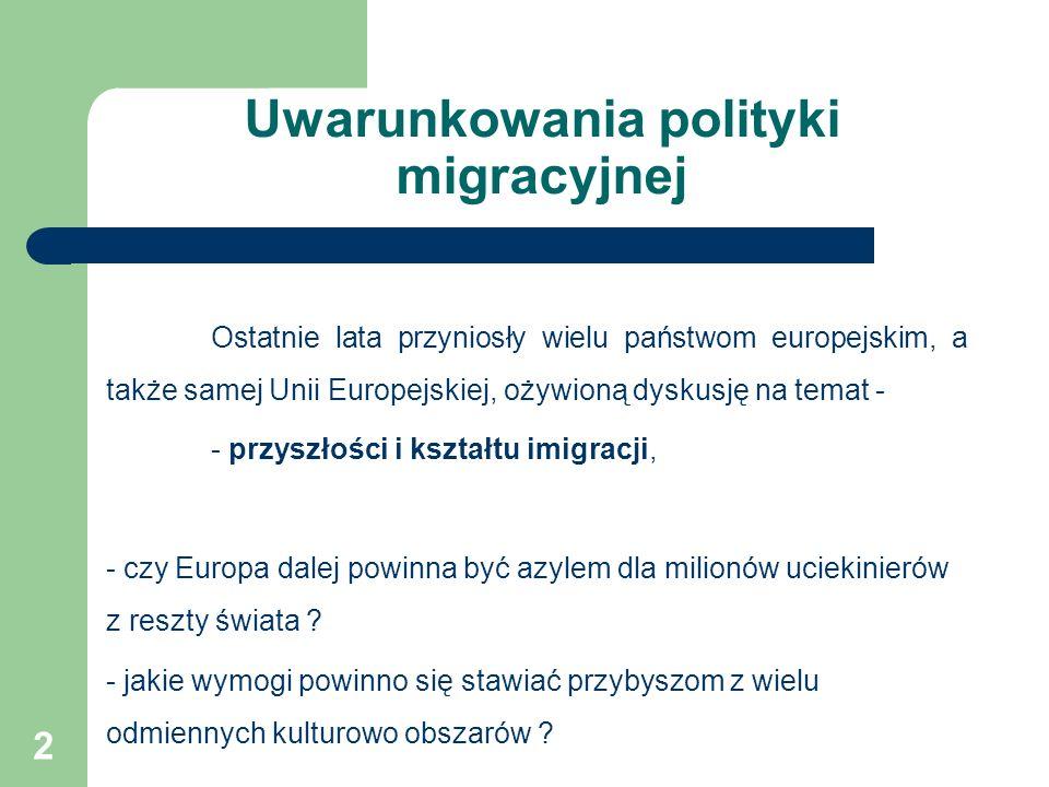 Uwarunkowania polityki migracyjnej Ostatnie lata przyniosły wielu państwom europejskim, a także samej Unii Europejskiej, ożywioną dyskusję na temat - - przyszłości i kształtu imigracji, - czy Europa dalej powinna być azylem dla milionów uciekinierów z reszty świata .