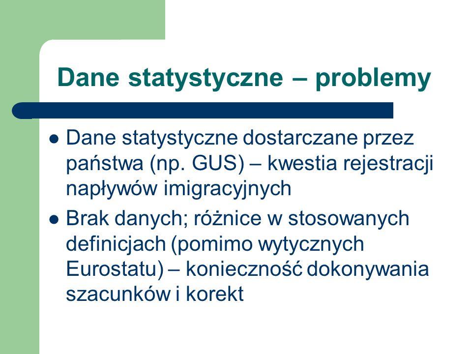 Dane statystyczne – problemy Dane statystyczne dostarczane przez państwa (np. GUS) – kwestia rejestracji napływów imigracyjnych Brak danych; różnice w