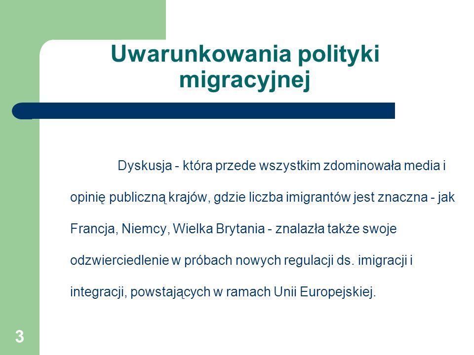 Uwarunkowania polityki migracyjnej Dyskusja - która przede wszystkim zdominowała media i opinię publiczną krajów, gdzie liczba imigrantów jest znaczna - jak Francja, Niemcy, Wielka Brytania - znalazła także swoje odzwierciedlenie w próbach nowych regulacji ds.