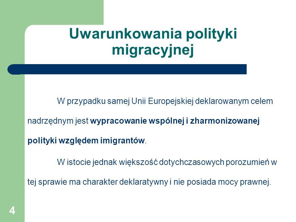 Uwarunkowania polityki migracyjnej W przypadku samej Unii Europejskiej deklarowanym celem nadrzędnym jest wypracowanie wspólnej i zharmonizowanej polityki względem imigrantów.