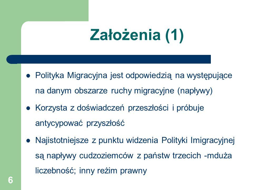 6 Założenia (1) Polityka Migracyjna jest odpowiedzią na występujące na danym obszarze ruchy migracyjne (napływy) Korzysta z doświadczeń przeszłości i