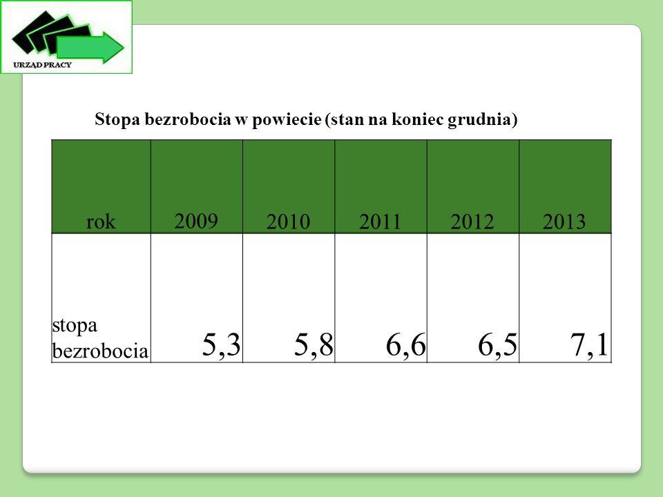rok20092010201120122013 stopa bezrobocia 5,35,86,66,57,1 Stopa bezrobocia w powiecie (stan na koniec grudnia)
