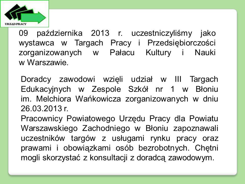 Doradcy zawodowi wzięli udział w III Targach Edukacyjnych w Zespole Szkół nr 1 w Błoniu im. Melchiora Wańkowicza zorganizowanych w dniu 26.03.2013 r.