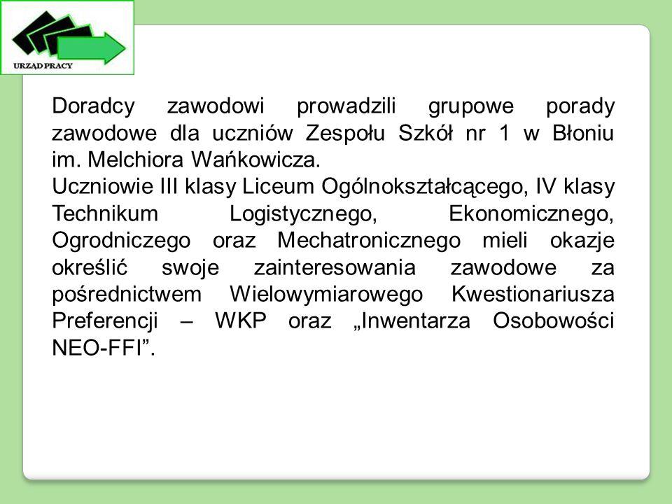 Doradcy zawodowi prowadzili grupowe porady zawodowe dla uczniów Zespołu Szkół nr 1 w Błoniu im. Melchiora Wańkowicza. Uczniowie III klasy Liceum Ogóln
